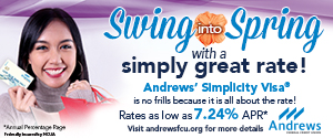 Andrews Credit Union March Spring 300x125